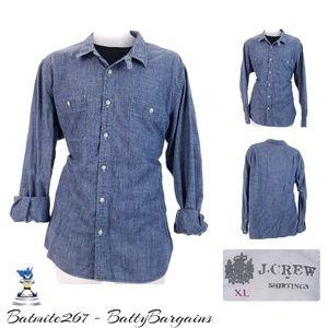 XL J Crew Mens CHAMBRAY Work Wear CHIN Strap Shirt